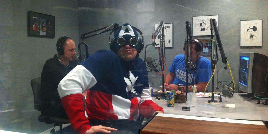 Matt Flood as Captain America.